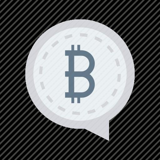 bitcoin, bubble, cash, message, money icon