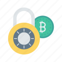 bitcoin, cash, lock, protection, secure icon