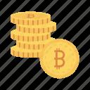 bitcoins, cash, coins, earning, saving icon