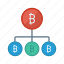bitcoin, connect, connection, network, share icon