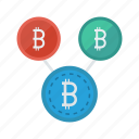 bitcoins, cash, connection, money, network icon
