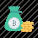 bag, bitcoins, finance, money, saving icon