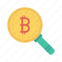 bitcoins, find, magnifier, money, search icon