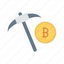 bitcoins, construction, currency, digging, shovel icon
