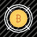bitcoin, coin, goal, money, target icon