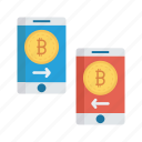 bitcoins, mobile, money, sharing, trasnfer icon