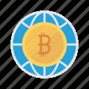 bitcoin, cash, global, money, world icon