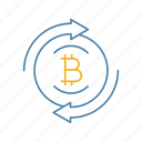 bitcoin, circle arrows, convert, crypto, cryptocurrency, exchange, money icon