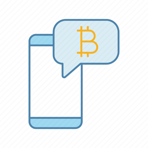 app, bitcoin, chat, cryptocurrency, notification, smartphone, speech bubble icon