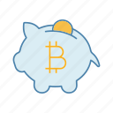 bitcoin, cryptocurrency, deposit, mining, money, piggy bank, savings icon