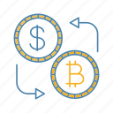 bitcoin, convert, cryptocurrency, currency, dollar, exchange, money icon