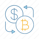 bitcoin, convert, currency, dollar, exchange, finance, money icon