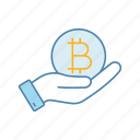 bitcoin, crypto, cryptocurrency, finance, hand, money, offer icon
