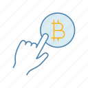 app, bitcoin, click, cryptocurrency, finger, payment button, press icon