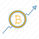 bitcoin, cryptocurrency, growth chart, increase, rate, statistics, up arrow icon