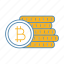 bitcoin, coins stack, crypto, cryptocurrency, deposit, finance, money icon