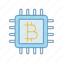 bitcoin, chip, cpu, crypto, cryptocurrency, mining, processor icon