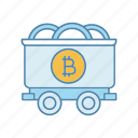 bitcoin, cart, coin, crypto, cryptocurrency, mining, trolley icon