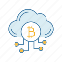 bitcoin, cloud, crypto, cryptocurrency, mining, technology, webstorage icon