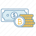 bitcoin, coins stack, cryptocurrency, deposit, dollar, finance, money icon