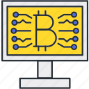 bitcoin, connection, internet, network icon