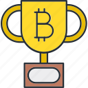 bitcoin, cryptocurrency, trophy, winner icon