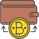 bitcoin, cryptocurrency, deposit, wallet icon