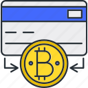 bitcoin, card, cryptocurrency, payment icon