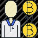 advisor, bitcoin, male icon