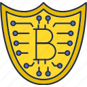 bitcoin, protection, security, shield icon