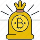 bag, bitcoin, cryptocurrency icon