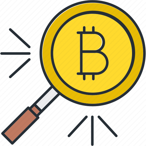 bitcoin, cryptocurrency, search icon