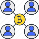bitcoin, connection, network, social icon