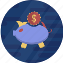 cash, cryptocurrency, dollar, finance, pig, pig bank, piggy bank icon