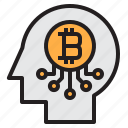 bitcoin, blockchain, brain, coin, cryptocurrency, finance, money icon