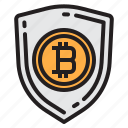 bitcoin, blockchain, coin, cryptocurrency, finance, money, protect icon