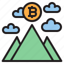 bitcoin, blockchain, coin, cryptocurrency, finance, money, moutain icon