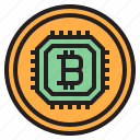 bitcoin, blockchain, coin, cpu, cryptocurrency, finance, money icon