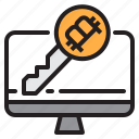 bitcoin, blockchain, coin, cryptocurrency, finance, key, money icon