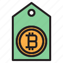 bitcoin, blockchain, coin, cryptocurrency, finance, money, tag icon
