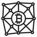 bitcoin, blockchain, coin, cryptocurrency, finance, money, network icon