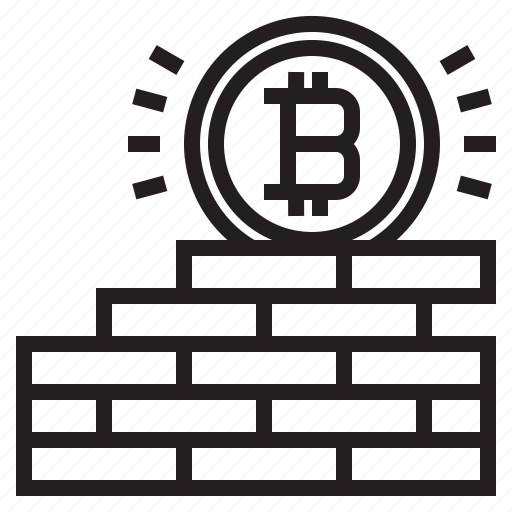 bitcoin, blockchain, coin, cryptocurrency, finance, money, wall icon