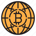 bitcoin, blockchain, coin, cryptocurrency, finance, global, money icon
