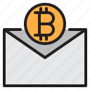 bitcoin, blockchain, coin, cryptocurrency, finance, mail, money icon
