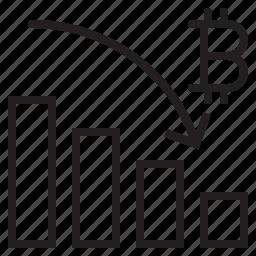 bitcoin, blockchain, coin, cryptocurrency, dawn, finance, graph icon