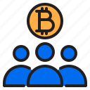 bitcoin, blockchain, coin, cryptocurrency, finance, money, people icon