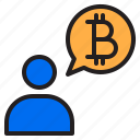 bitcoin, blockchain, coin, cryptocurrency, finance, money, talking icon