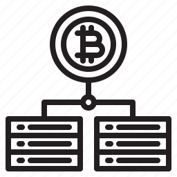 bitcoin, blockchain, coin, cryptocurrency, finance, money, server icon