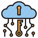 bitcoin, blockchain, cloud, coin, cryptocurrency, key, money icon