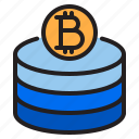 bitcoin, blockchain, coin, cryptocurrency, database, finance, money icon